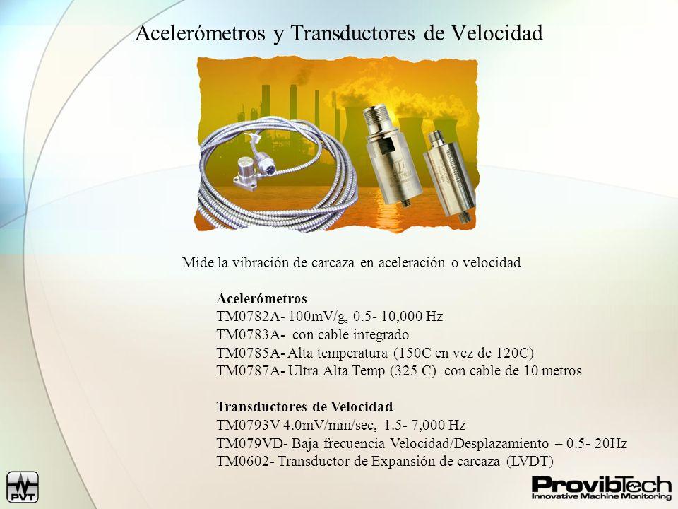 Acelerómetros y Transductores de Velocidad Mide la vibración de carcaza en aceleración o velocidad Acelerómetros TM0782A- 100mV/g, 0.5- 10,000 Hz TM07
