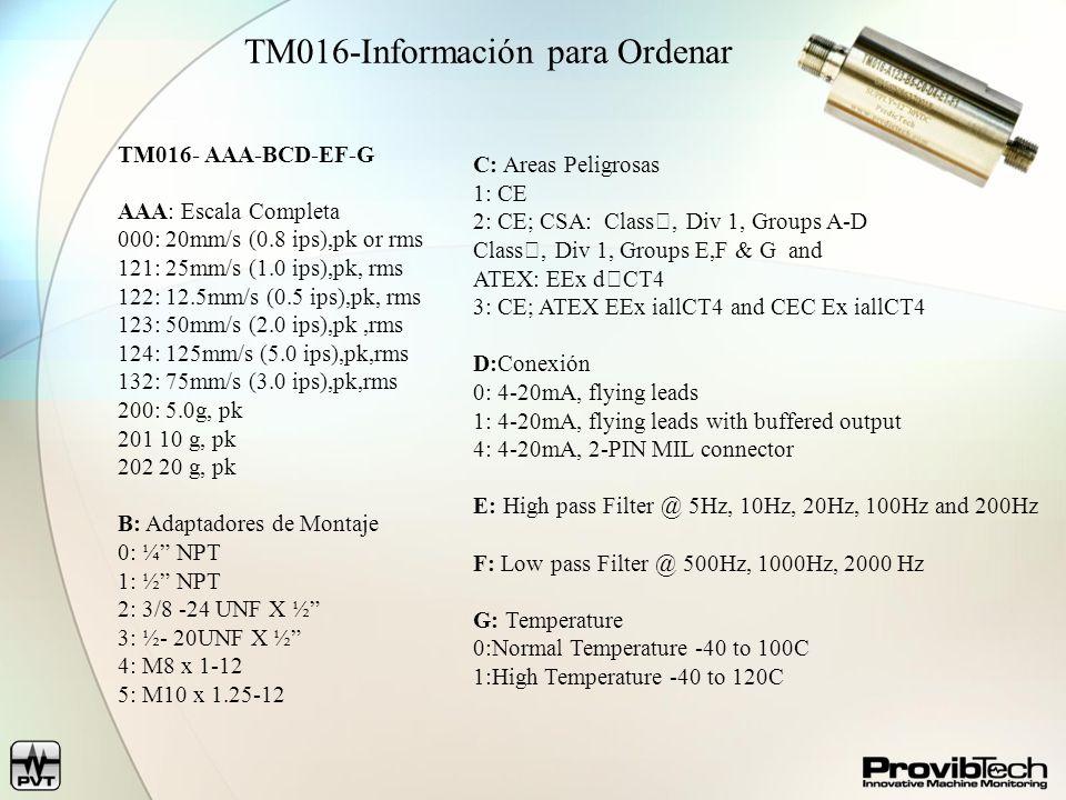 TM016-Información para Ordenar TM016- AAA-BCD-EF-G AAA: Escala Completa 000: 20mm/s (0.8 ips),pk or rms 121: 25mm/s (1.0 ips),pk, rms 122: 12.5mm/s (0