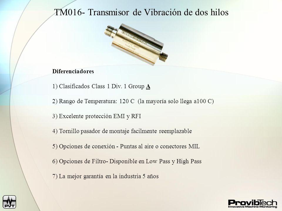 Número de ModeloTR1101TR3101TR4101TM016 TR3102TR4102 Aceleración (g s) Velocidad (ips/sec, mm/sec) Desplazamiento (mils, um) Medición de Vibración Vibración Radial TR3101TR4101 Posición Axial TR3102TR4102 Referencia de Fase TR3102TR4102 Vibración de Carcasa Interfases de sensor Acelerometro Built in Punta de Prueba de Proximidad (5mm, 8mm, and 11mm) Acelerometro Transductor de Velocidad Salidas Disponibles Salida 4-20mA Buffered Output (3 m) Buffered Output (300 m) Caracteristicas Disponibles Transmisor Alimentado por lazo (2- hilos) Protección Ambiental NEMA 4 or IP65 Garantía de 5 años