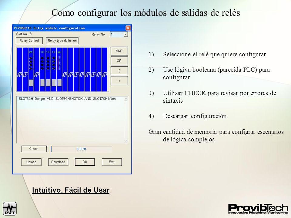 Como configurar los módulos de salidas de relés 1)Seleccione el relé que quiere configurar 2)Use lógiva booleana (parecida PLC) para configurar 3)Util