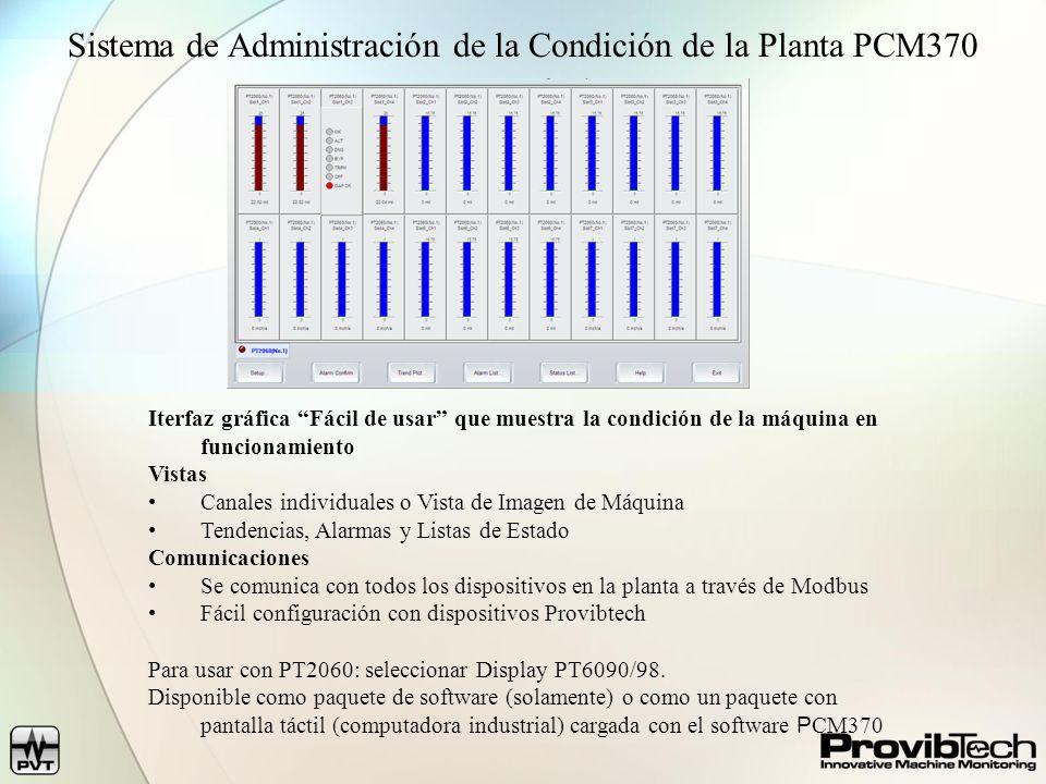 Sistema de Administración de la Condición de la Planta PCM370 Iterfaz gráfica Fácil de usar que muestra la condición de la máquina en funcionamiento V