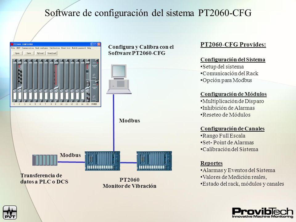 Como configurar el PT2060 Pasos 1) Establecer comunicación con el Rack 2) Subir localización de los módulos (Reconoce los módulos automáticamente) 3) Configure los módulos de procesamiento de señal 4) Configura los módulos de salida de relé 5) Salvar 6) Descargar configuración al PT2060 Intuitivo, Fácil de Usar
