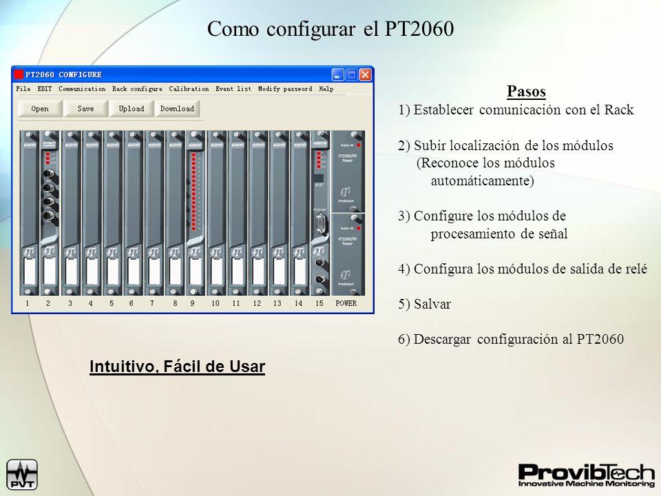 Como configurar el PT2060 Pasos 1) Establecer comunicación con el Rack 2) Subir localización de los módulos (Reconoce los módulos automáticamente) 3)