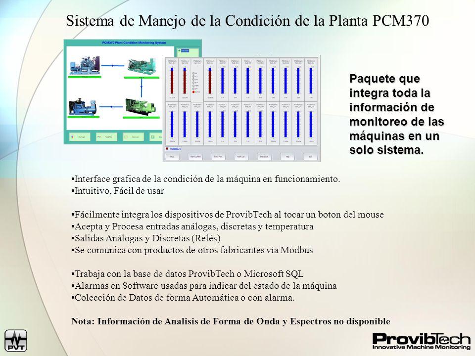 Sistema de Manejo de la Condición de la Planta PCM370 Interface grafica de la condición de la máquina en funcionamiento.