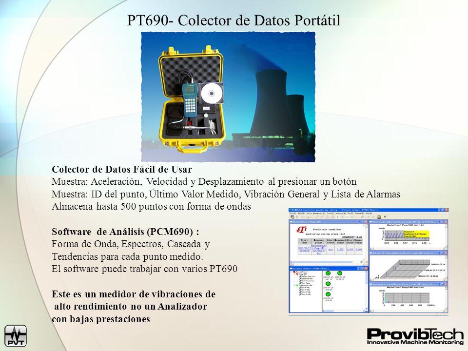 PT690- Colector de Datos Portátil Colector de Datos Fácil de Usar Muestra: Aceleración, Velocidad y Desplazamiento al presionar un botón Muestra: ID del punto, Último Valor Medido, Vibración General y Lista de Alarmas Almacena hasta 500 puntos con forma de ondas Software de Análisis (PCM690) : Forma de Onda, Espectros, Cascada y Tendencias para cada punto medido.
