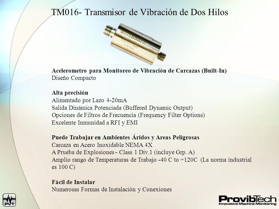 TR Series Transmitters- Sensores de Proximidad y Sísmicos Monitorea Vibración Radial, Posición Axial, Velocidad y Fase de Carcazas Alta presición y Confiabilidad API 670 Salidas 4-20mA (Alimentación por Lazo Opcional) Salida Dinámica Protegida (Buffered Dynamic Output) Carcaza de Aluminio, Protección contra Ambientes Agresivos, Potted Fácil de Instalar Compatible con las puntas de pruebas de proximidad y sensores de la mayoría de los fabricantes.
