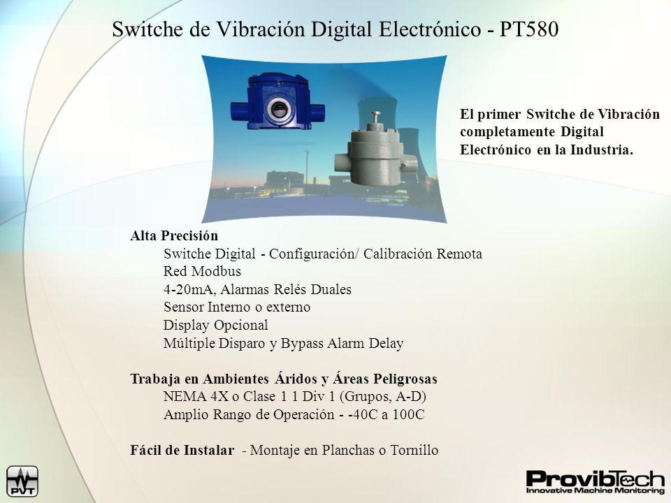 Switche de Vibración Digital Electrónico - PT580 Alta Precisión Switche Digital - Configuración/ Calibración Remota Red Modbus 4-20mA, Alarmas Relés D