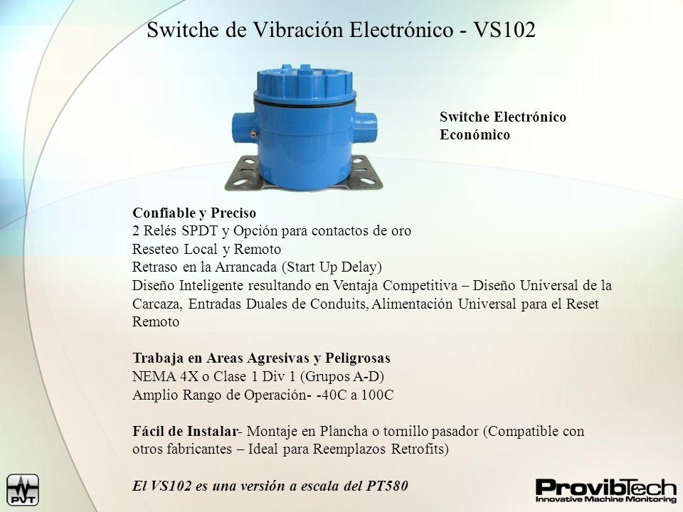 Switche de Vibración Electrónico - VS102 Confiable y Preciso 2 Relés SPDT y Opción para contactos de oro Reseteo Local y Remoto Retraso en la Arrancada (Start Up Delay) Diseño Inteligente resultando en Ventaja Competitiva – Diseño Universal de la Carcaza, Entradas Duales de Conduits, Alimentación Universal para el Reset Remoto Trabaja en Areas Agresivas y Peligrosas NEMA 4X o Clase 1 Div 1 (Grupos A-D) Amplio Rango de Operación- -40C a 100C Fácil de Instalar- Montaje en Plancha o tornillo pasador (Compatible con otros fabricantes – Ideal para Reemplazos Retrofits) El VS102 es una versión a escala del PT580 Switche Electrónico Económico