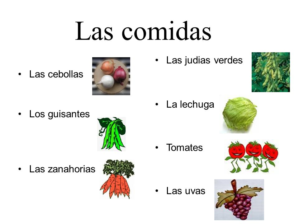 Las cebollas Los guisantes Las zanahorias Las judias verdes La lechuga Tomates Las uvas Las comidas