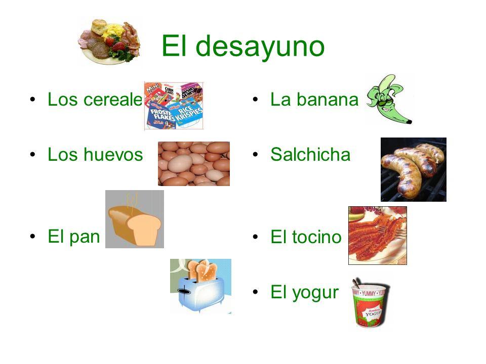 El desayuno Los cereales Los huevos el pan El pan La banana Salchicha El tocino El yogur