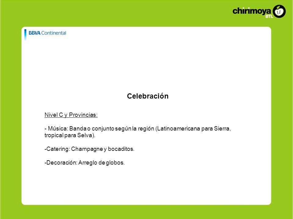 Celebración Nivel C y Provincias: - Música: Banda o conjunto según la región (Latinoamericana para Sierra, tropical para Selva). -Catering: Champagne