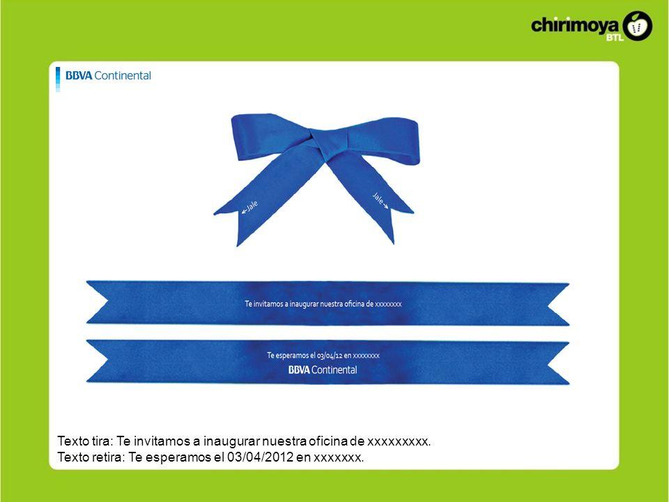 Texto tira: Te invitamos a inaugurar nuestra oficina de xxxxxxxxx. Texto retira: Te esperamos el 03/04/2012 en xxxxxxx.