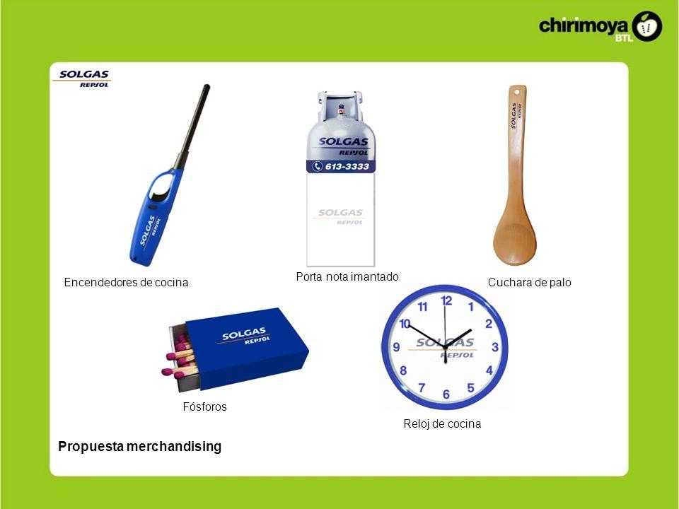 Propuesta merchandising Encendedores de cocina Fósforos Reloj de cocina Cuchara de palo Porta nota imantado