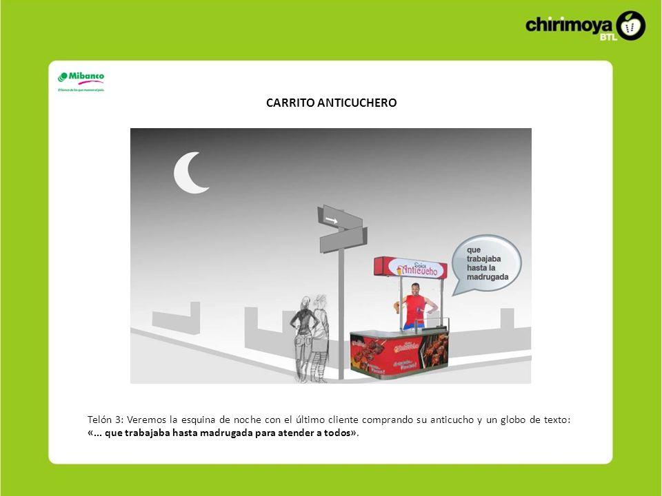 CARRITO ANTICUCHERO Telón 3: Veremos la esquina de noche con el último cliente comprando su anticucho y un globo de texto: «...