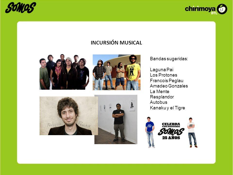 INCURSIÓN MUSICAL Bandas sugeridas: Laguna Pai Los Protones Francois Peglau Amadeo Gonzales La Mente Resplandor Autobus Kanaku y el Tigre
