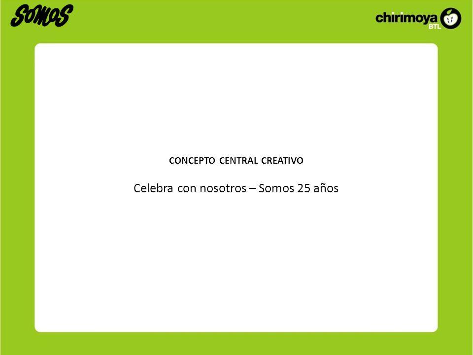 CONCEPTO CENTRAL CREATIVO Celebra con nosotros – Somos 25 años