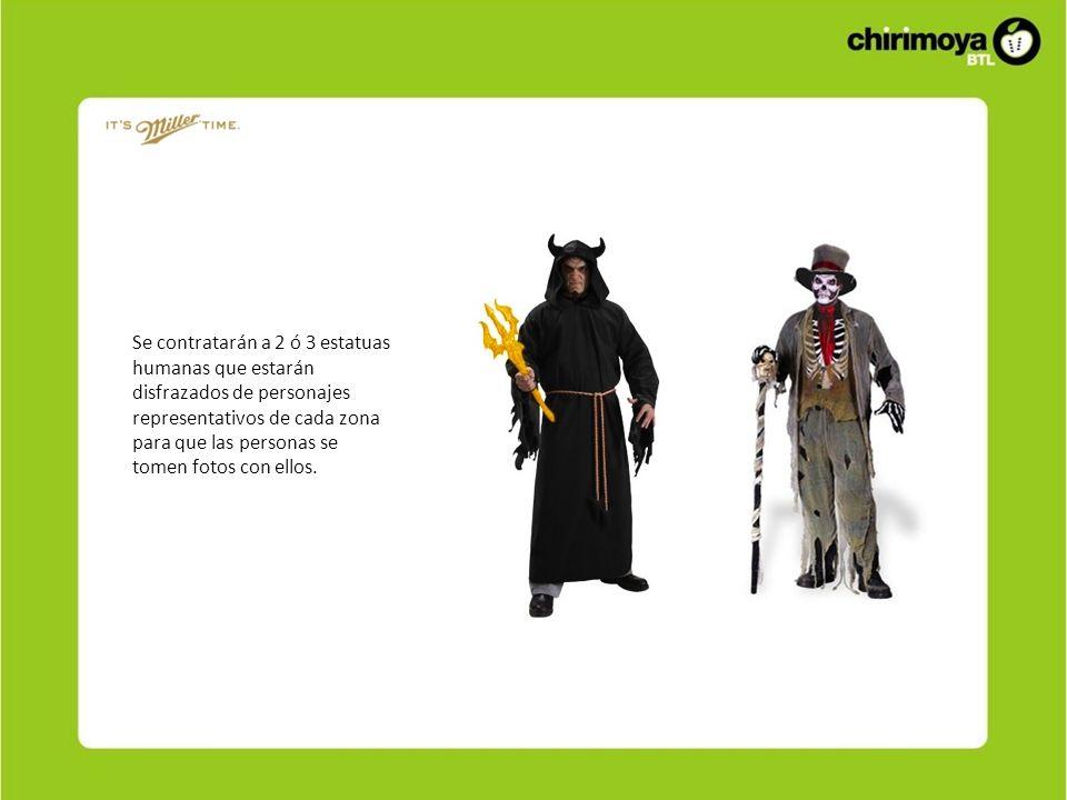 Se contratarán a 2 ó 3 estatuas humanas que estarán disfrazados de personajes representativos de cada zona para que las personas se tomen fotos con el