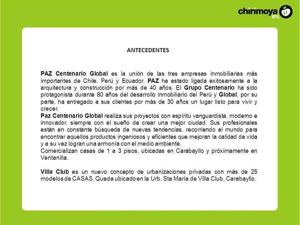 ANTECEDENTES PAZ Centenario Global es la unión de las tres empresas inmobiliarias más importantes de Chile, Perú y Ecuador. PAZ ha estado ligada exito