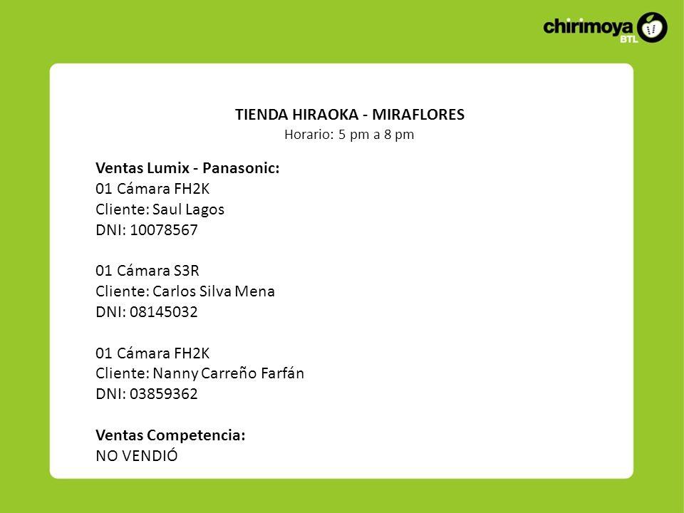 Ventas Lumix - Panasonic: 01 Cámara FH2K Cliente: Saul Lagos DNI: 10078567 01 Cámara S3R Cliente: Carlos Silva Mena DNI: 08145032 01 Cámara FH2K Clien