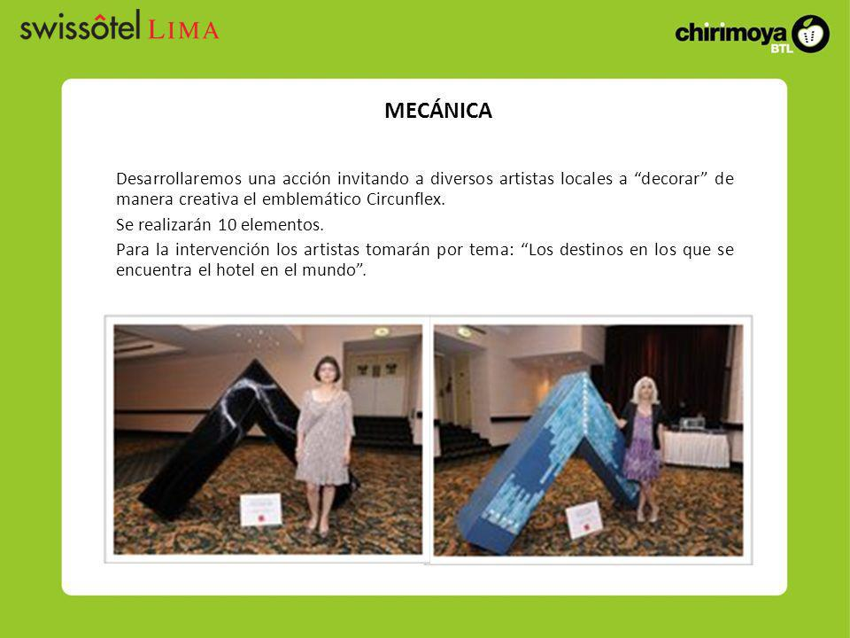 Desarrollaremos una acción invitando a diversos artistas locales a decorar de manera creativa el emblemático Circunflex. Se realizarán 10 elementos. P