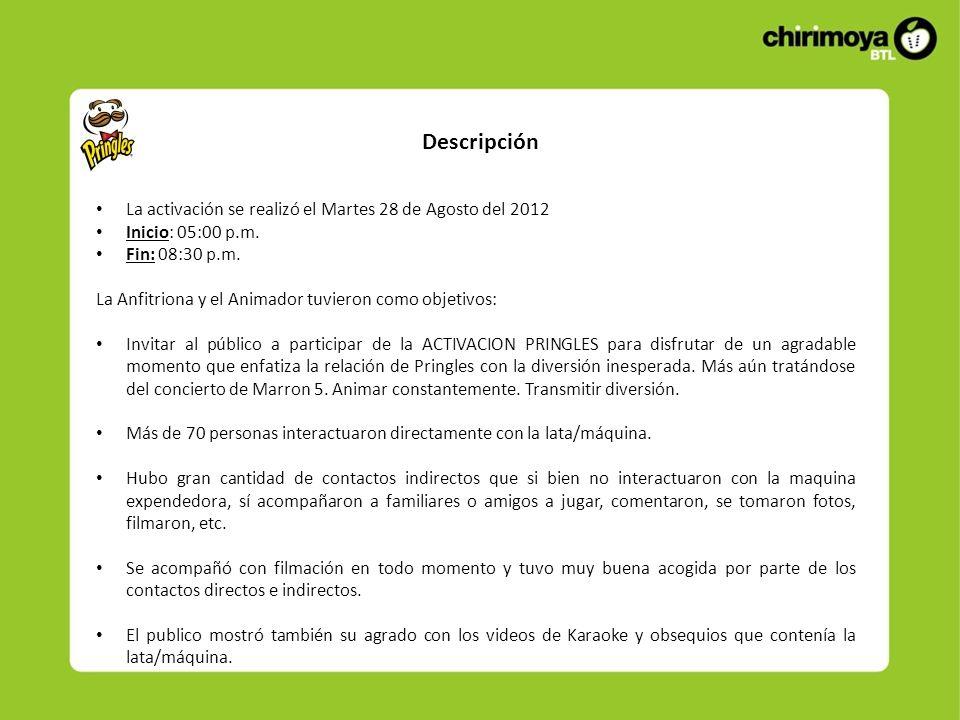 Descripción La activación se realizó el Martes 28 de Agosto del 2012 Inicio: 05:00 p.m. Fin: 08:30 p.m. La Anfitriona y el Animador tuvieron como obje