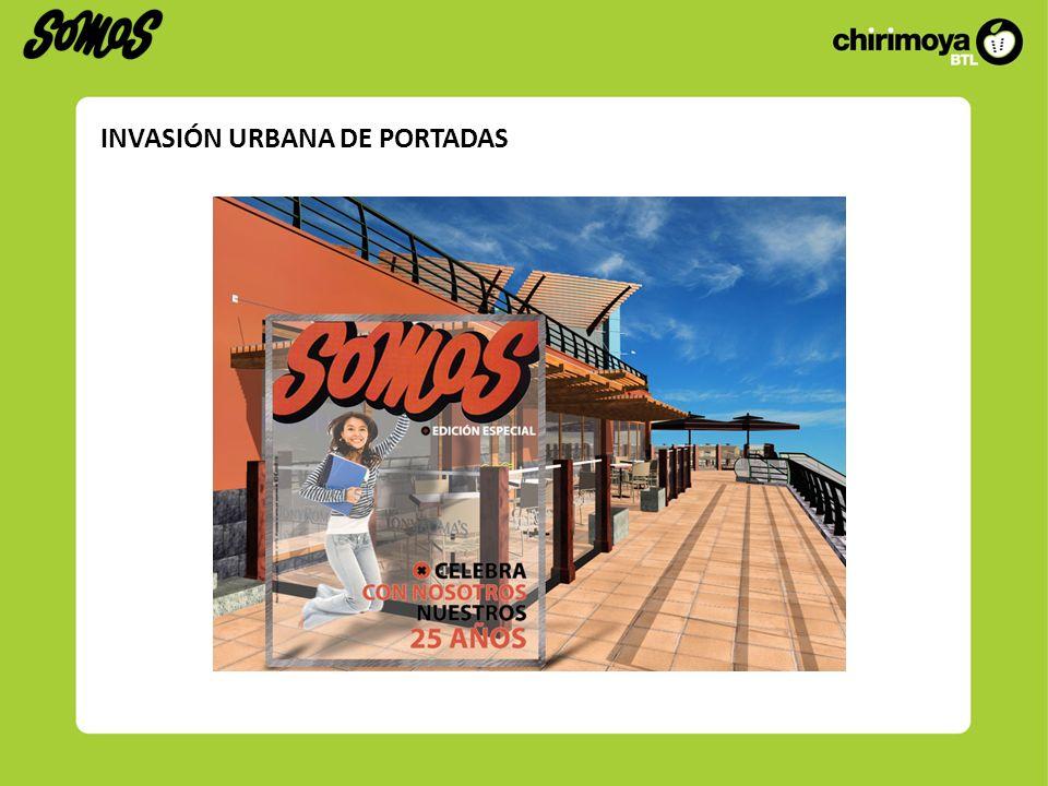 Consiste en colocar 5 portadas itinerantes que sorprendan al público en la vía pública (plazas, puntos de alto tránsito, centros comerciales).