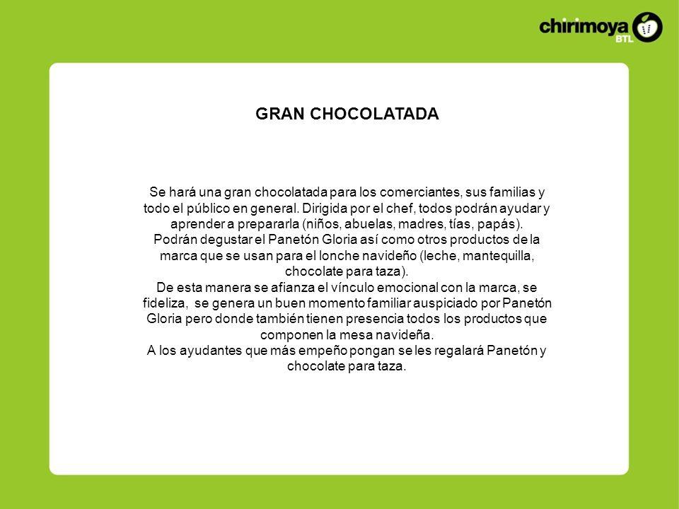 Se hará una gran chocolatada para los comerciantes, sus familias y todo el público en general. Dirigida por el chef, todos podrán ayudar y aprender a