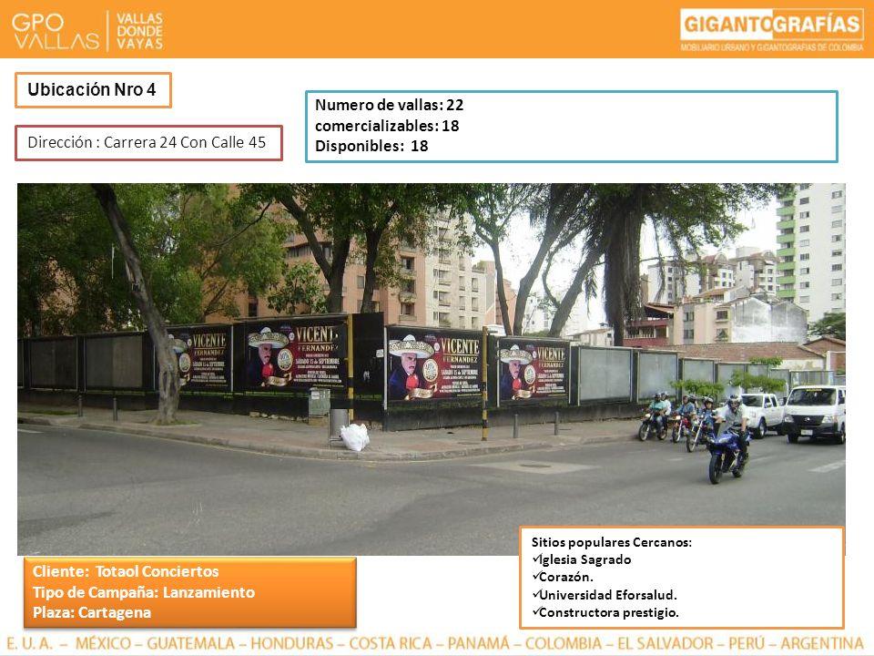 Dirección : Carrera 24 Con Calle 45 Ubicación Nro 4 Numero de vallas: 22 comercializables: 18 Disponibles: 18 Sitios populares Cercanos: Iglesia Sagra