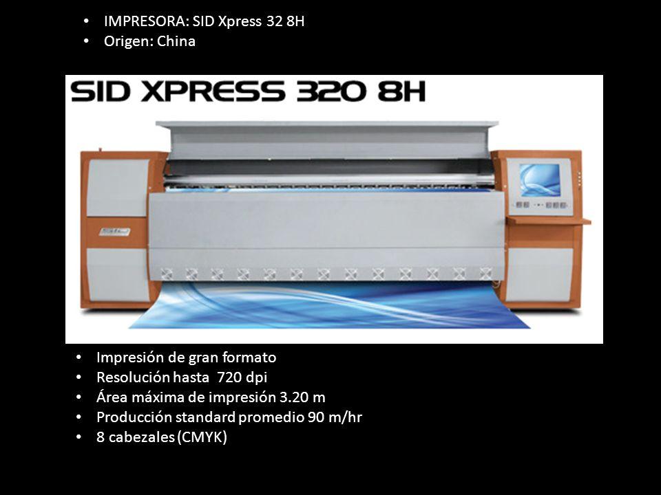Impresión de gran formato Resolución hasta 720 dpi Área máxima de impresión 3.20 m Producción standard promedio 90 m/hr 8 cabezales (CMYK) IMPRESORA: