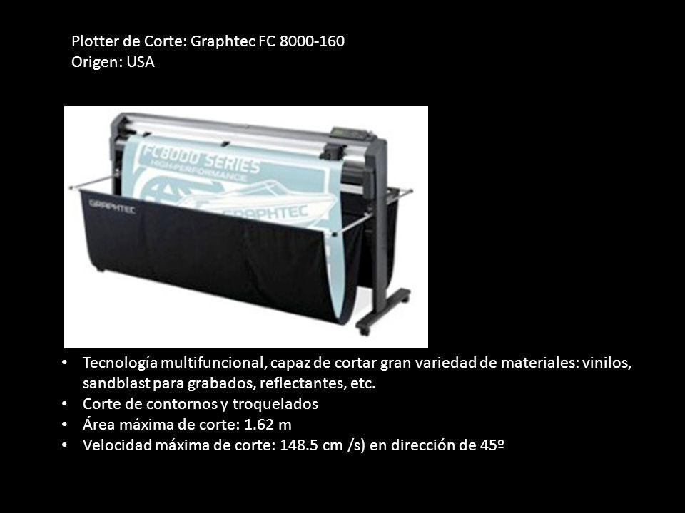 Plotter de Corte: Graphtec FC 8000-160 Origen: USA Tecnología multifuncional, capaz de cortar gran variedad de materiales: vinilos, sandblast para gra