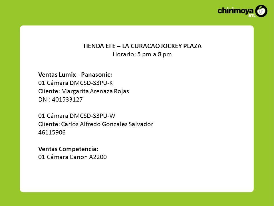 Ventas Lumix - Panasonic: 01 Cámara DMCSD-S3PU-K Cliente: Margarita Arenaza Rojas DNI: 401533127 01 Cámara DMCSD-S3PU-W Cliente: Carlos Alfredo Gonzal