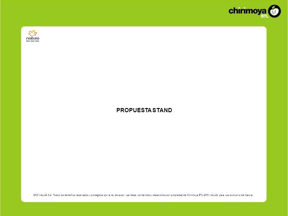 El stand contará con una pared central conteniendo las líneas Una, Ekos y Chronos con productos e imágenes relacionadas directamente a cada una de las líneas.