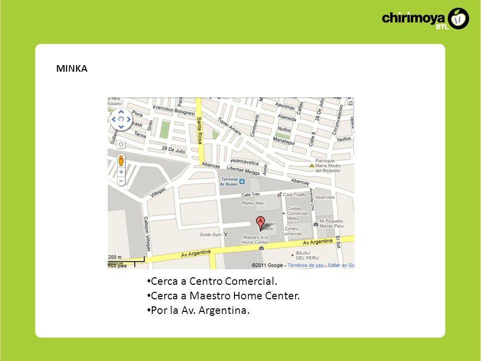MINKA Cerca a Centro Comercial. Cerca a Maestro Home Center. Por la Av. Argentina.