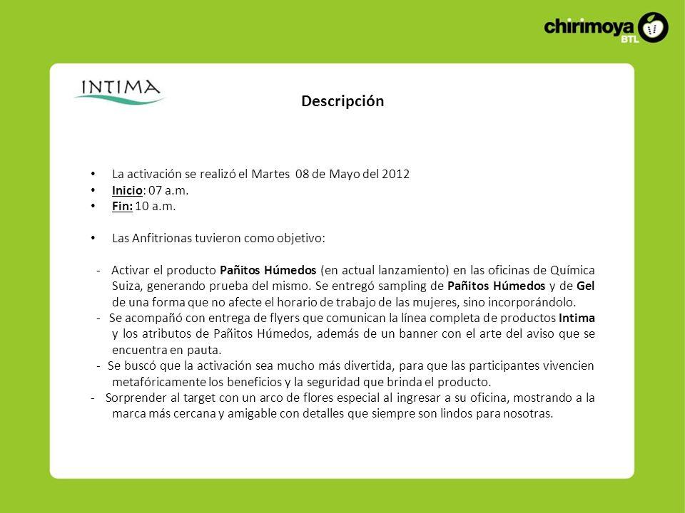 Descripción La activación se realizó el Martes 08 de Mayo del 2012 Inicio: 07 a.m. Fin: 10 a.m. Las Anfitrionas tuvieron como objetivo: - Activar el p