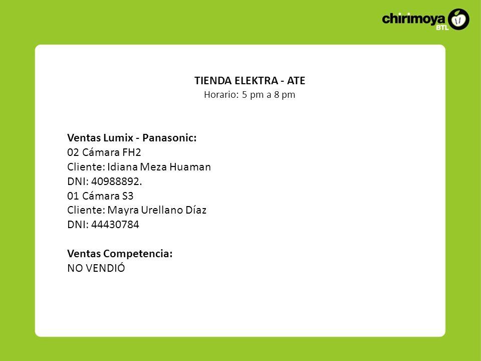 Ventas Lumix - Panasonic: 02 Cámara FH2 Cliente: Idiana Meza Huaman DNI: 40988892. 01 Cámara S3 Cliente: Mayra Urellano Díaz DNI: 44430784 Ventas Comp