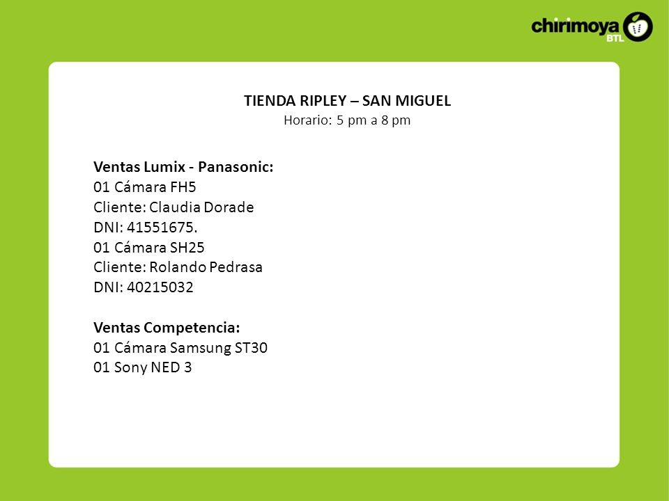 Ventas Lumix - Panasonic: 01 Cámara FH5 Cliente: Claudia Dorade DNI: 41551675.