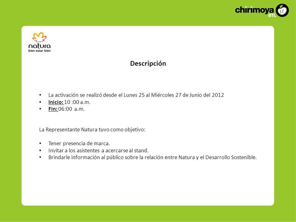 Descripción La activación se realizó desde el Lunes 25 al Miércoles 27 de Junio del 2012 Inicio: 10 :00 a.m.