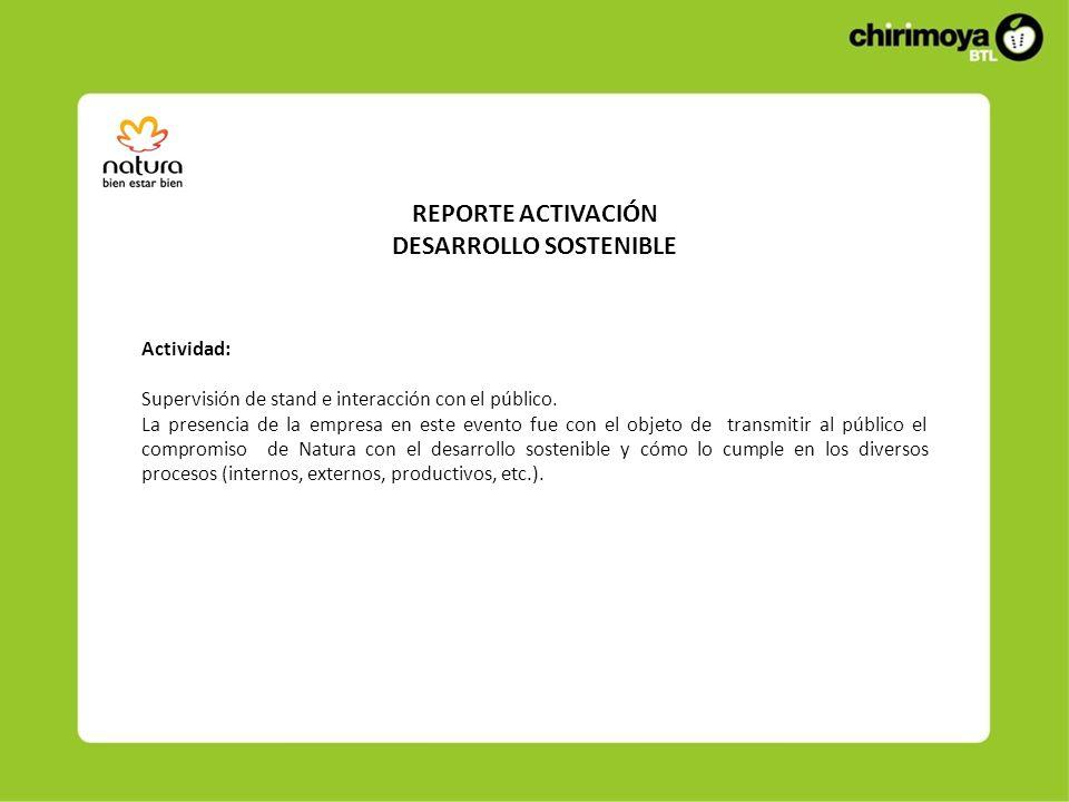 REPORTE ACTIVACIÓN DESARROLLO SOSTENIBLE Actividad: Supervisión de stand e interacción con el público.