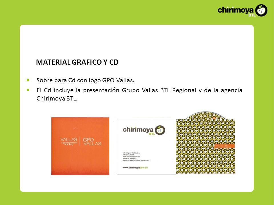 MATERIAL GRAFICO Y CD Sobre para Cd con logo GPO Vallas. El Cd incluye la presentación Grupo Vallas BTL Regional y de la agencia Chirimoya BTL.