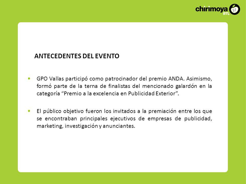 ANTECEDENTES DEL EVENTO GPO Vallas participó como patrocinador del premio ANDA. Asimismo, formó parte de la terna de finalistas del mencionado galardó