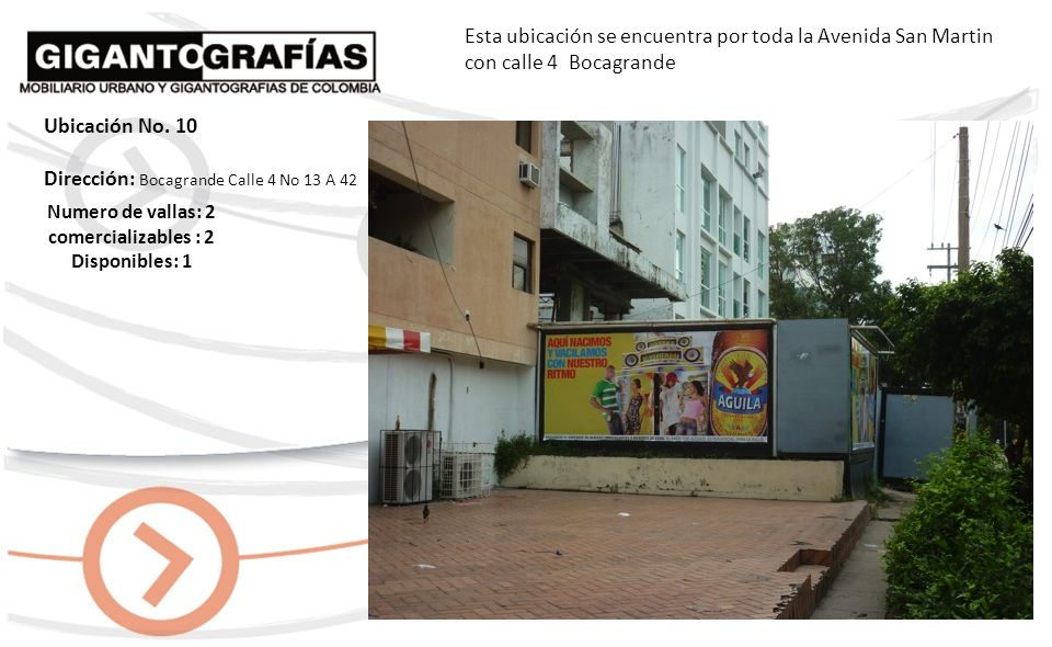 Dirección: Crespo Avenida Santander Calle 67 No.2-37 Esta ubicación se encuentra en la Avenida Santander Vía principal del aeropuerto al Centro Histórico Numero de vallas: 3 comercializables: 3 Disponibles: 1 Ubicación No.