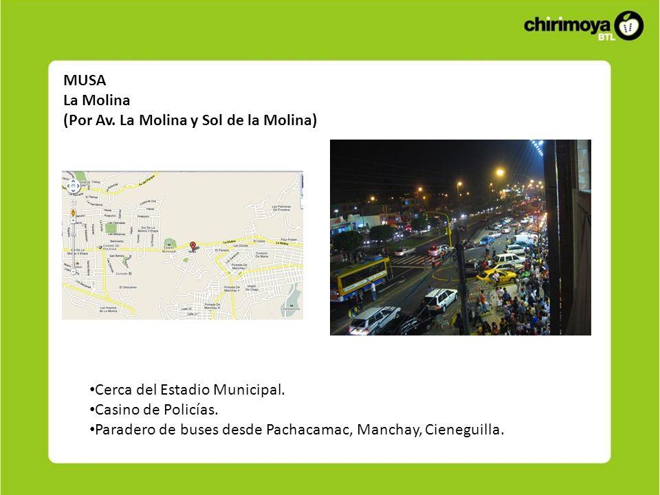 MUSA La Molina (Por Av. La Molina y Sol de la Molina) Cerca del Estadio Municipal. Casino de Policías. Paradero de buses desde Pachacamac, Manchay, Ci
