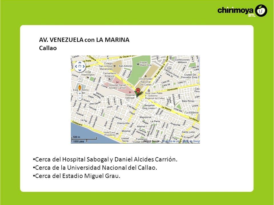 AV. VENEZUELA con LA MARINA Callao Cerca del Hospital Sabogal y Daniel Alcides Carrión. Cerca de la Universidad Nacional del Callao. Cerca del Estadio