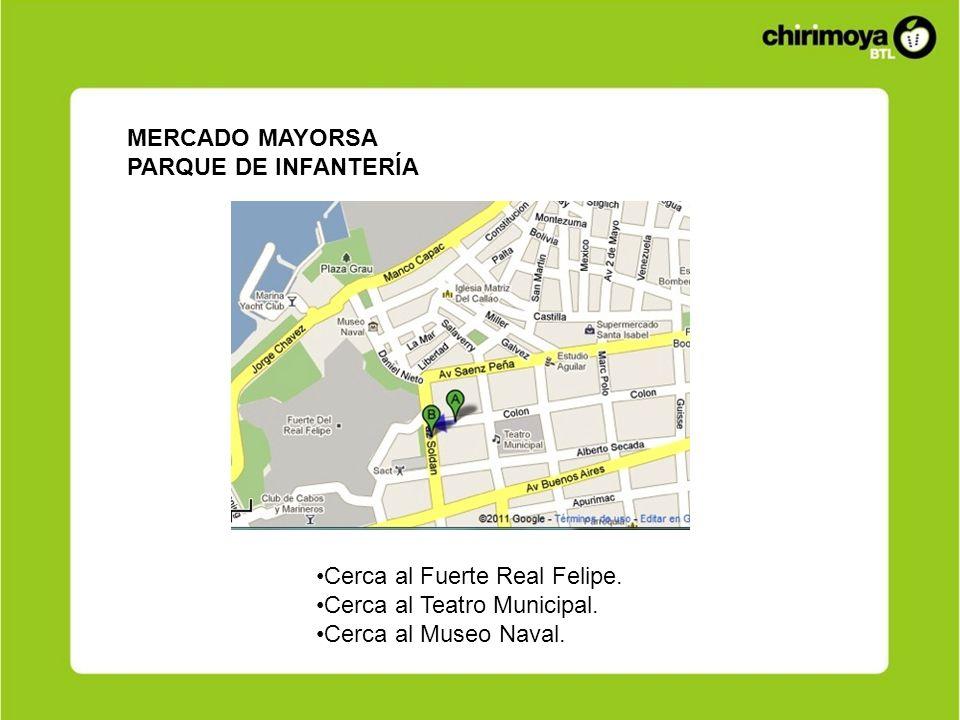 MERCADO MAYORSA PARQUE DE INFANTERÍA Cerca al Fuerte Real Felipe. Cerca al Teatro Municipal. Cerca al Museo Naval.