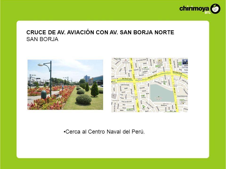CRUCE DE AV. AVIACIÓN CON AV. SAN BORJA NORTE SAN BORJA Cerca al Centro Naval del Perú.
