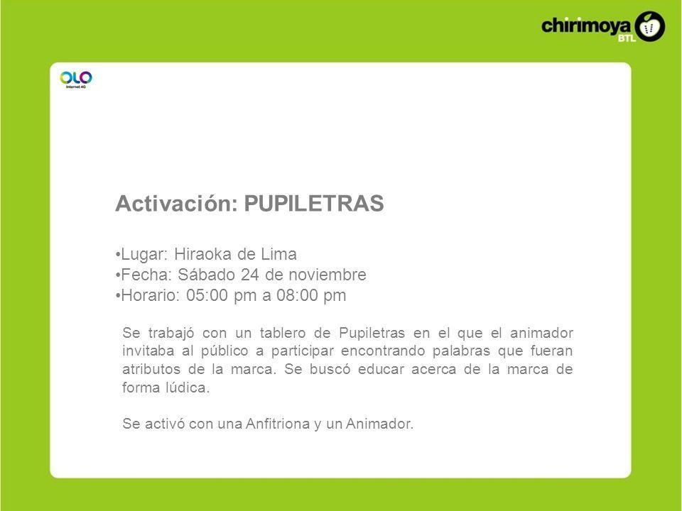 Activación: PUPILETRAS Lugar: Hiraoka de Lima Fecha: Sábado 24 de noviembre Horario: 05:00 pm a 08:00 pm Se trabajó con un tablero de Pupiletras en el