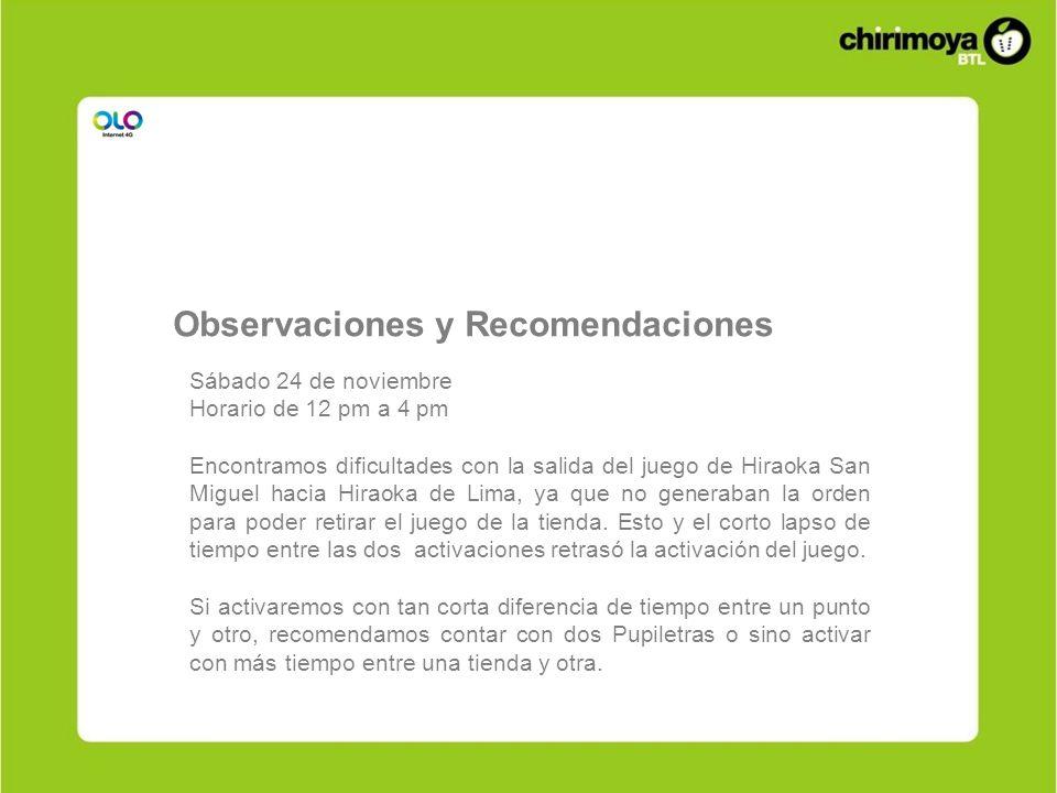 Sábado 24 de noviembre Horario de 12 pm a 4 pm Encontramos dificultades con la salida del juego de Hiraoka San Miguel hacia Hiraoka de Lima, ya que no