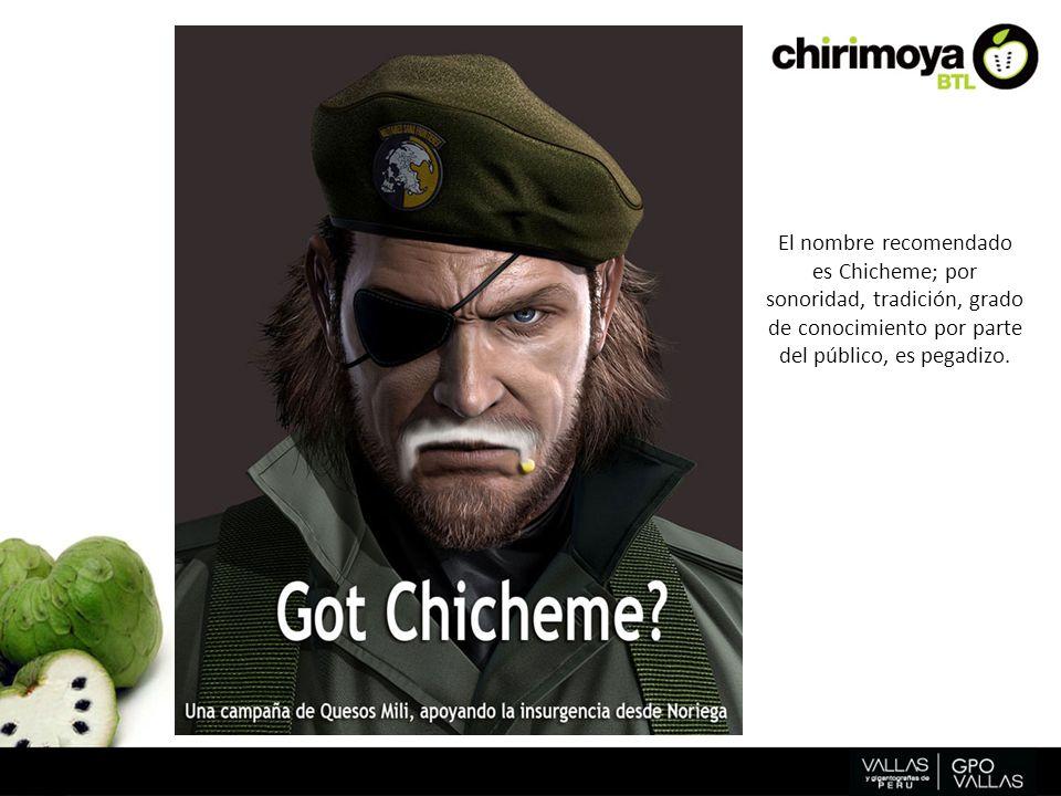 El nombre recomendado es Chicheme; por sonoridad, tradición, grado de conocimiento por parte del público, es pegadizo.