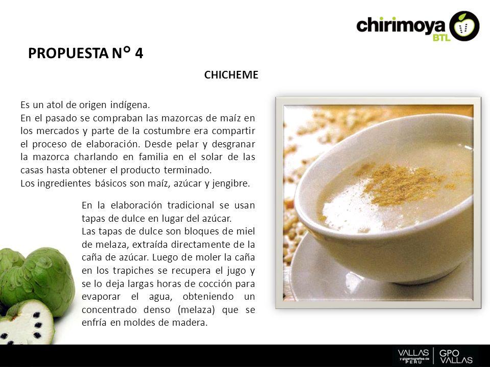 PROPUESTA N° 4 CHICHEME Existen diferentes recetas y las variantes dependen del gusto de quien lo prepare.