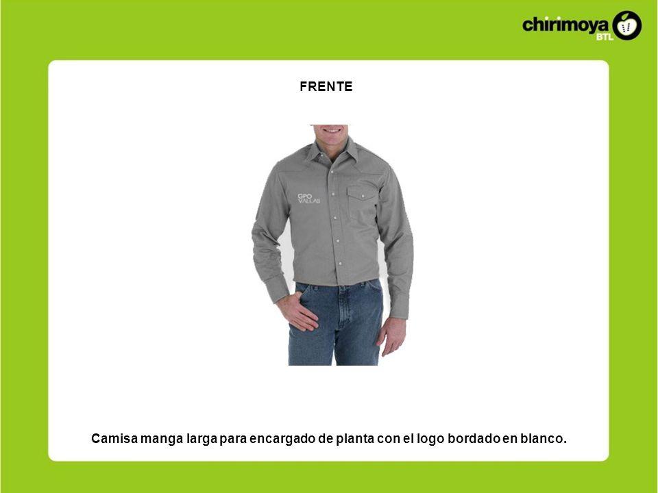 Camisa manga larga para encargado de planta con el logo bordado en blanco. FRENTE